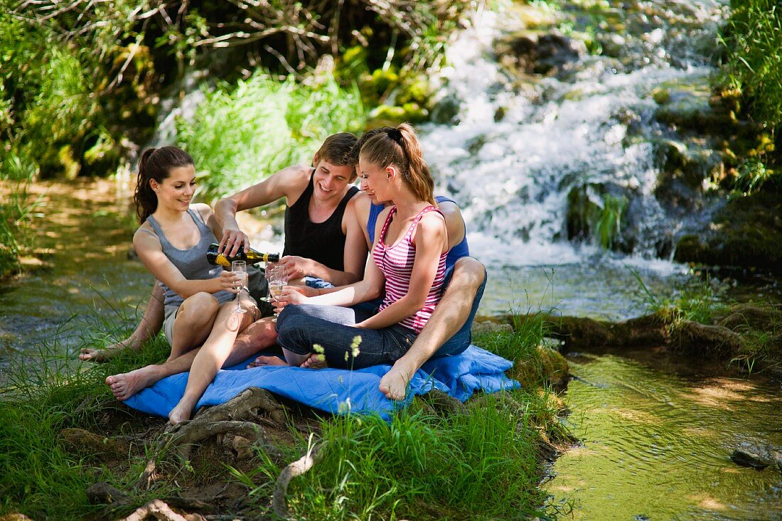 Young people sitting on a picnic rung in front of a waterfall with champagne