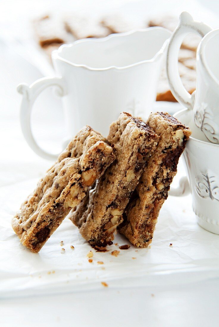 Chocolate and nut slices