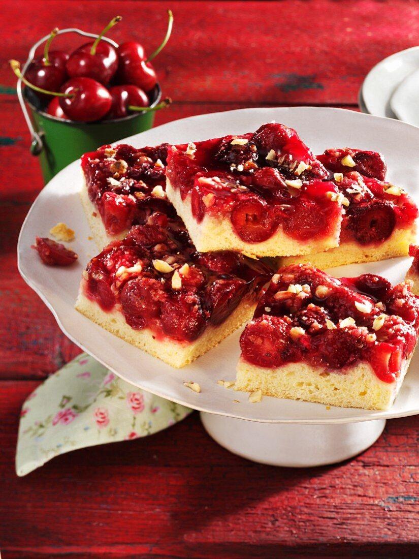 Tray bake cherry cake