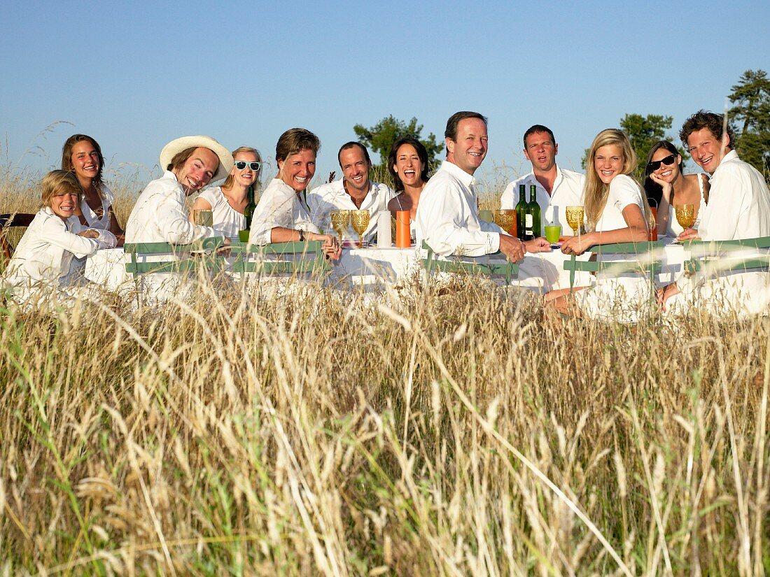 People having dinner, outdoors
