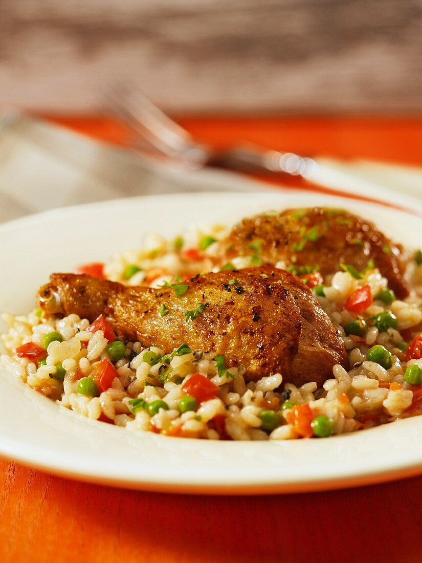 Arroz con pollo (chicken with vegetable rice, Spain)