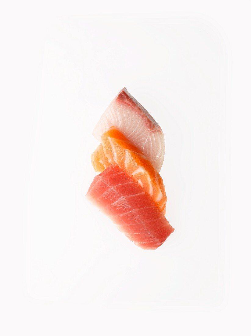 Sashimi Tuna, Salmon and Yellow Fin; White Background