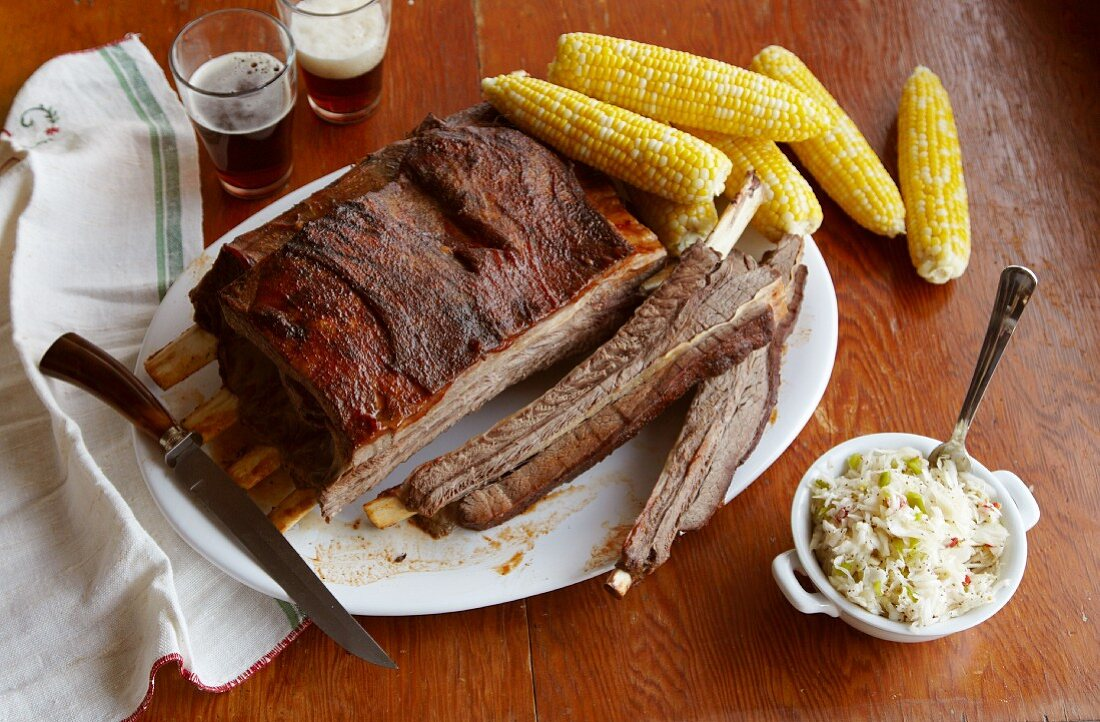 Barbecue Buffalo Ribs with Corn on the Cob and Coleslaw