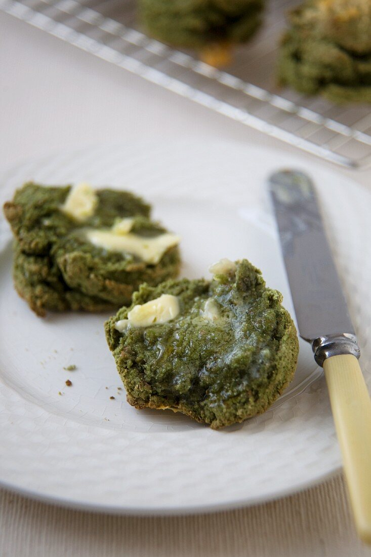 Barley Grass Scone; Halved with Butter