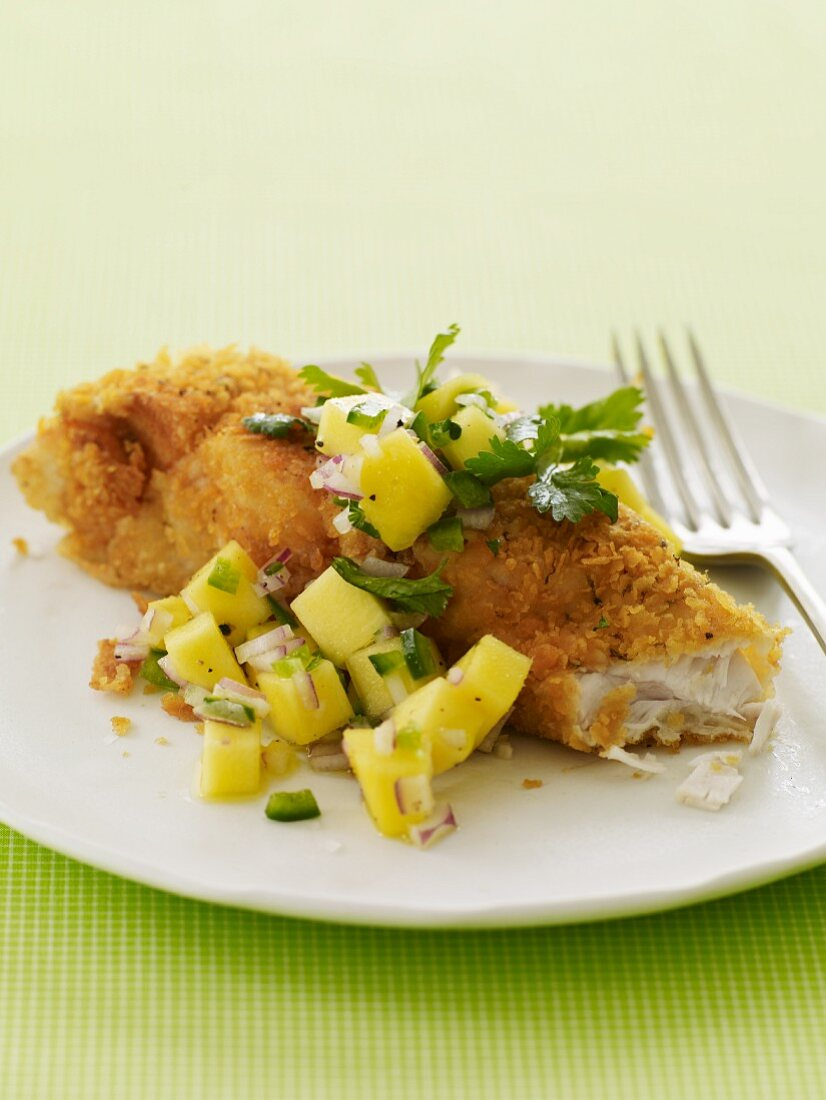 Breaded Fried Fish with Tropical Salsa