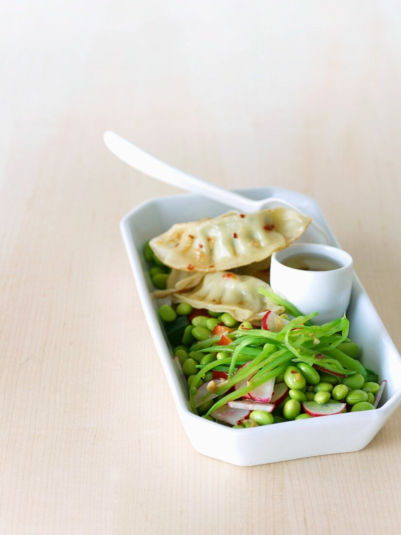 Edamame with Potstickers