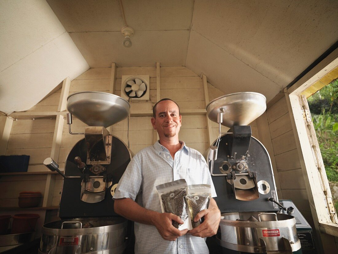 Coffee Worker With Packaged Coffee Beans