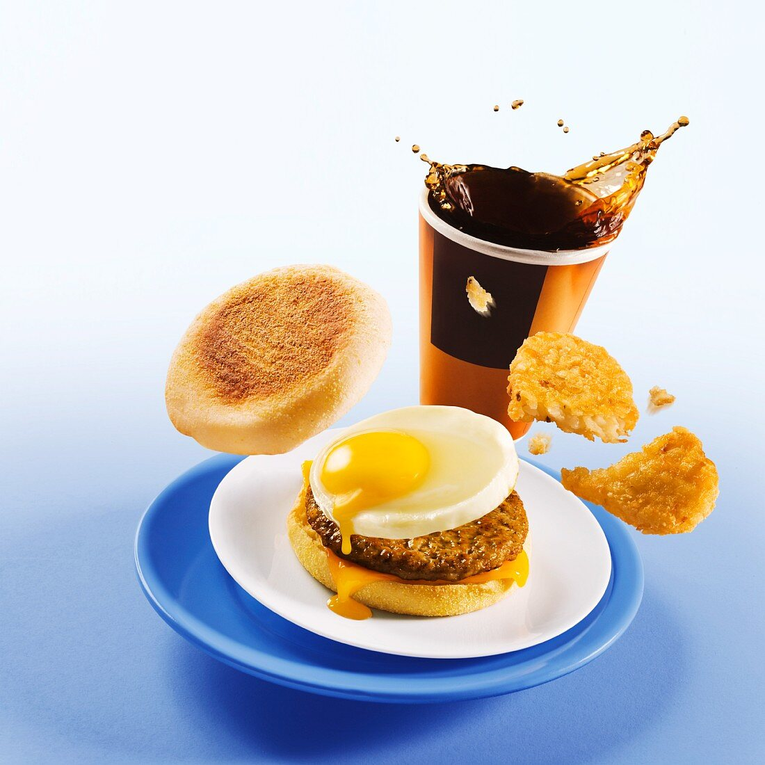Breakfast Sandwich with Hash Brown and Coffee; Spilling