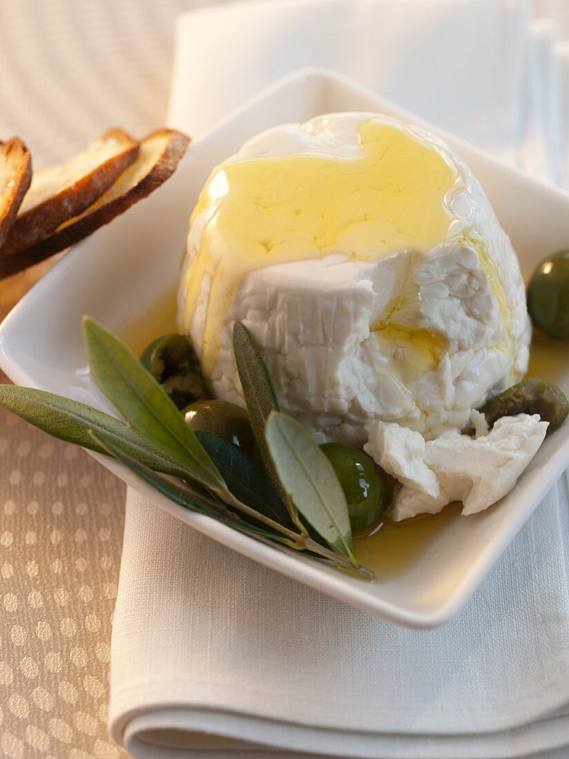 Farmer Cheese with Olives and Olive Oil