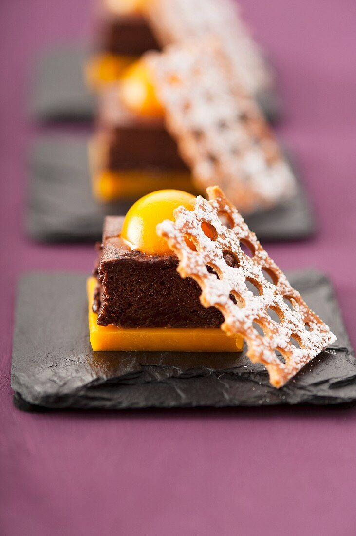 Chocolate mouse cake and apricots
