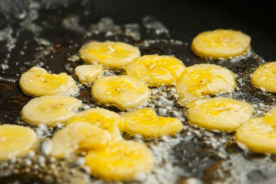 Bananas being caramelised