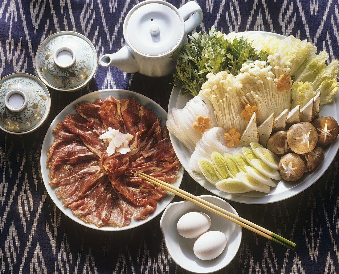 Vegetables and Meat For Dipping in Fondue