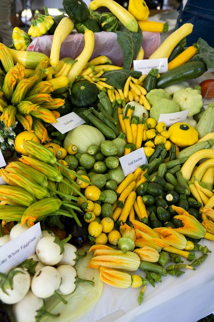 Courgettes and squashes on a market stall
