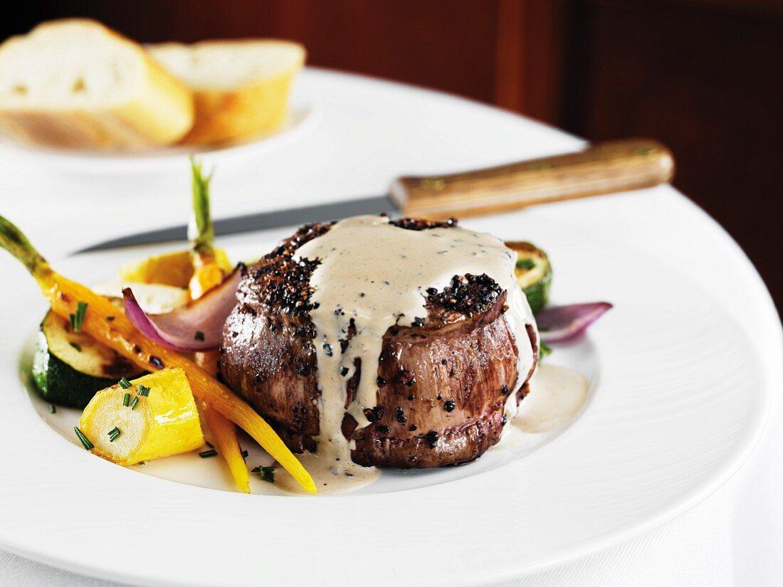 Steak Au Poivre; Filet Mignon with Black Peppercorn Sauce