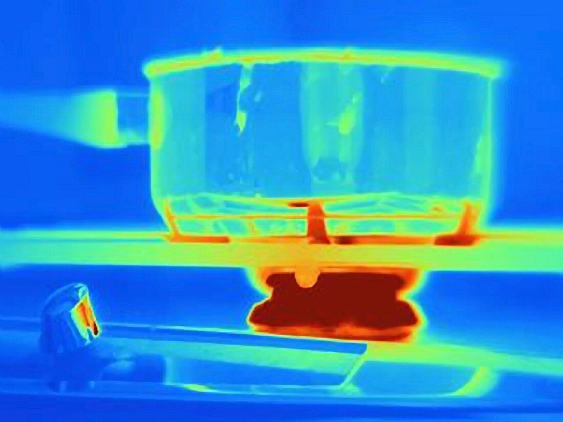 An infa red picture of a cooking pot on a gas stove