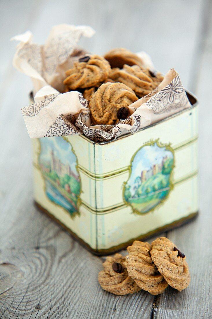 Espresso biscuits in a biscuit tin