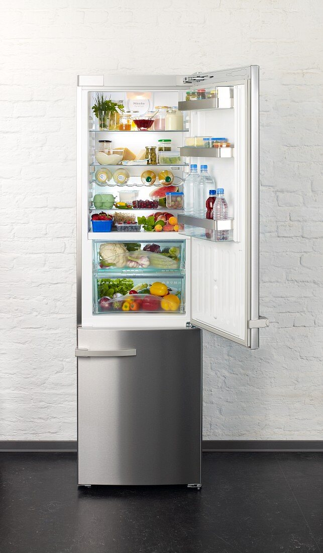A well-stocked fridge with no meat or alcohol