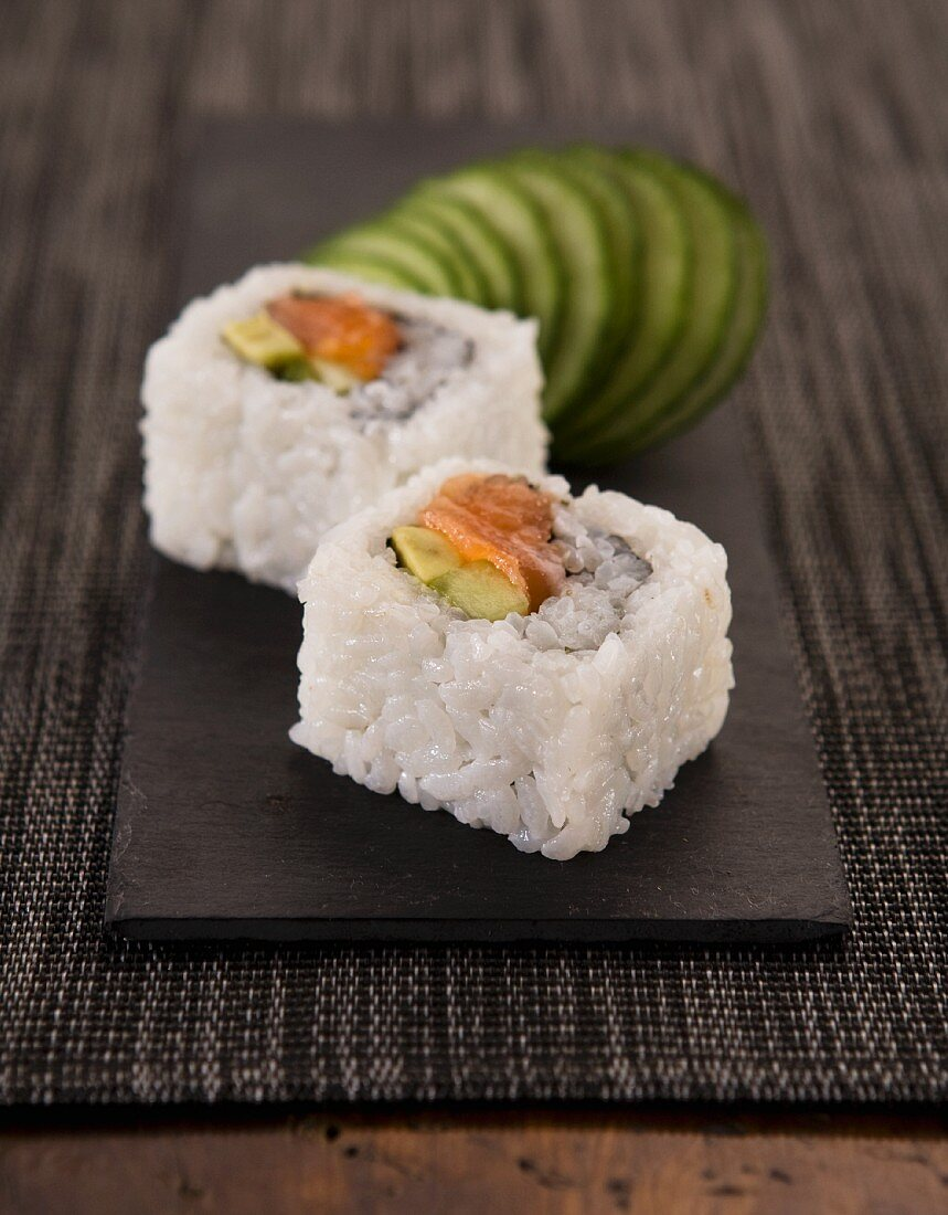 Sushi and sliced cucumber