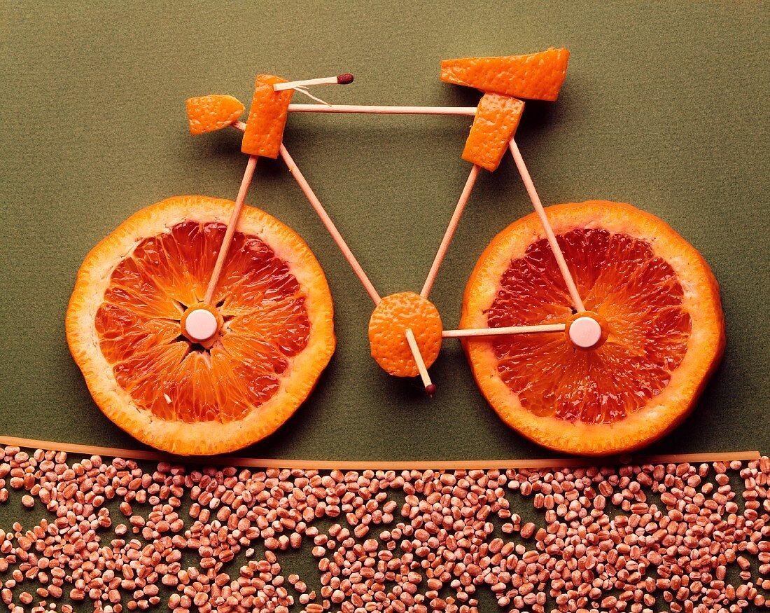 An orange bicycle