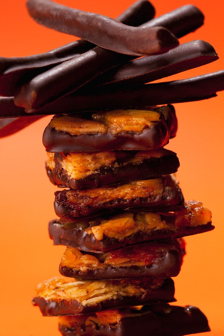 Chocolate biscuits and chocolate sticks
