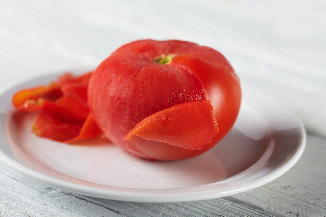Partially Peeled Boiled Tomato