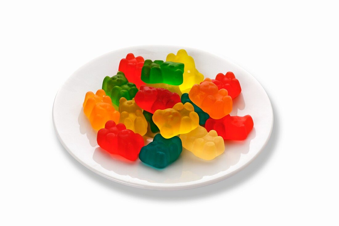 A plate of colourful gummy bears