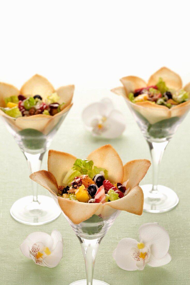 Fruit salad in wafer petals