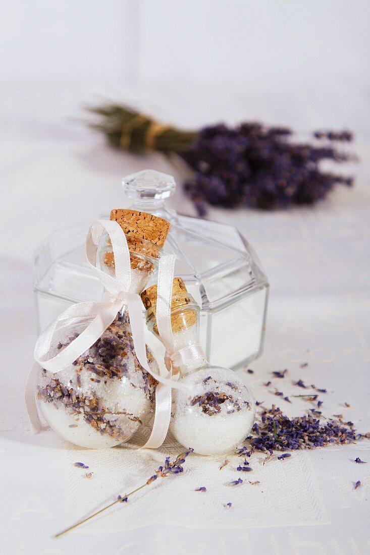 Lavender sugar in a decoration bottle