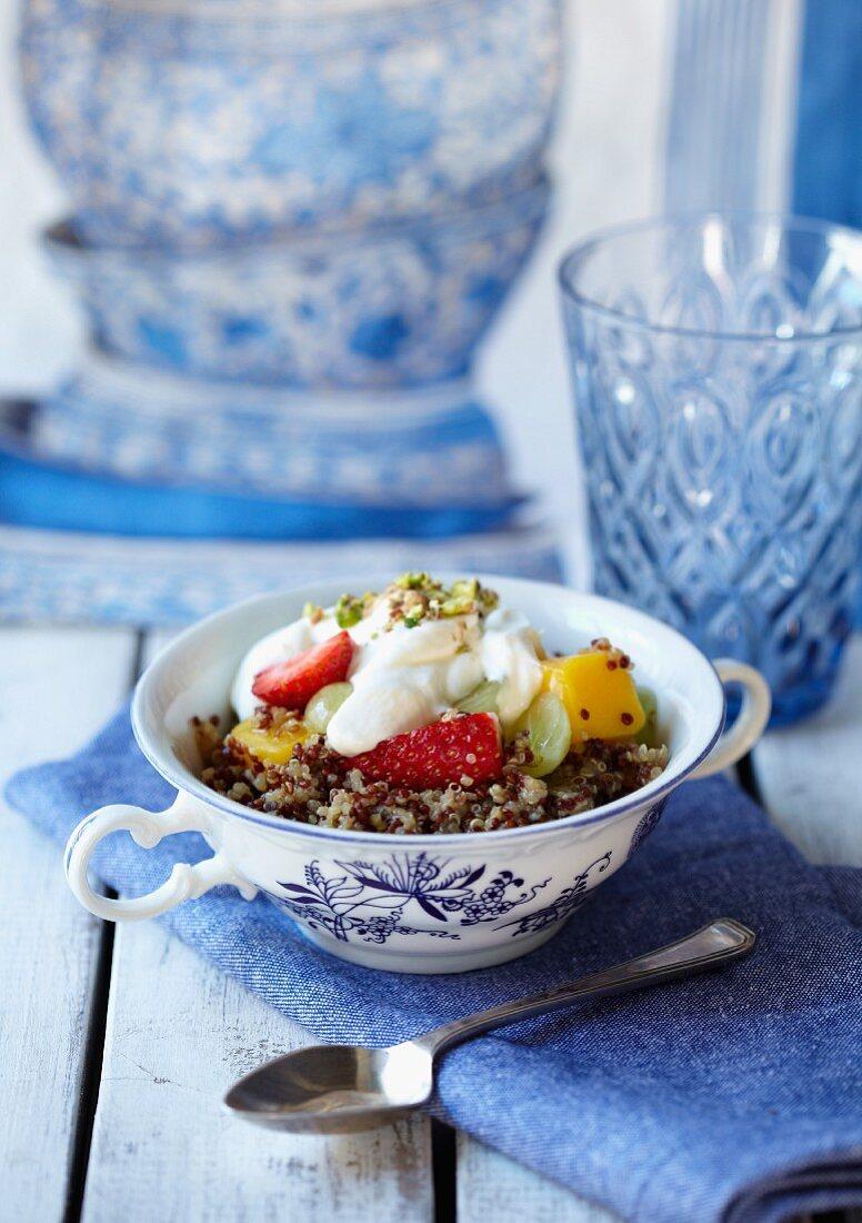 Quinoa breakfast salad with orange blossom water and honey dressing