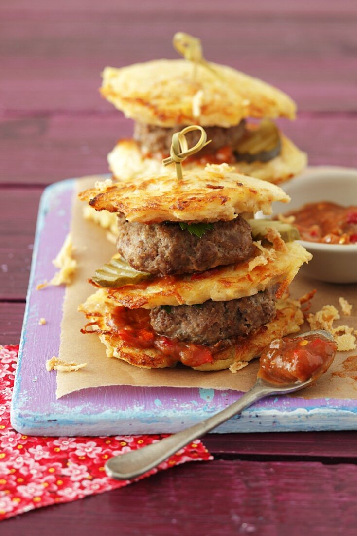 A potato cake burger