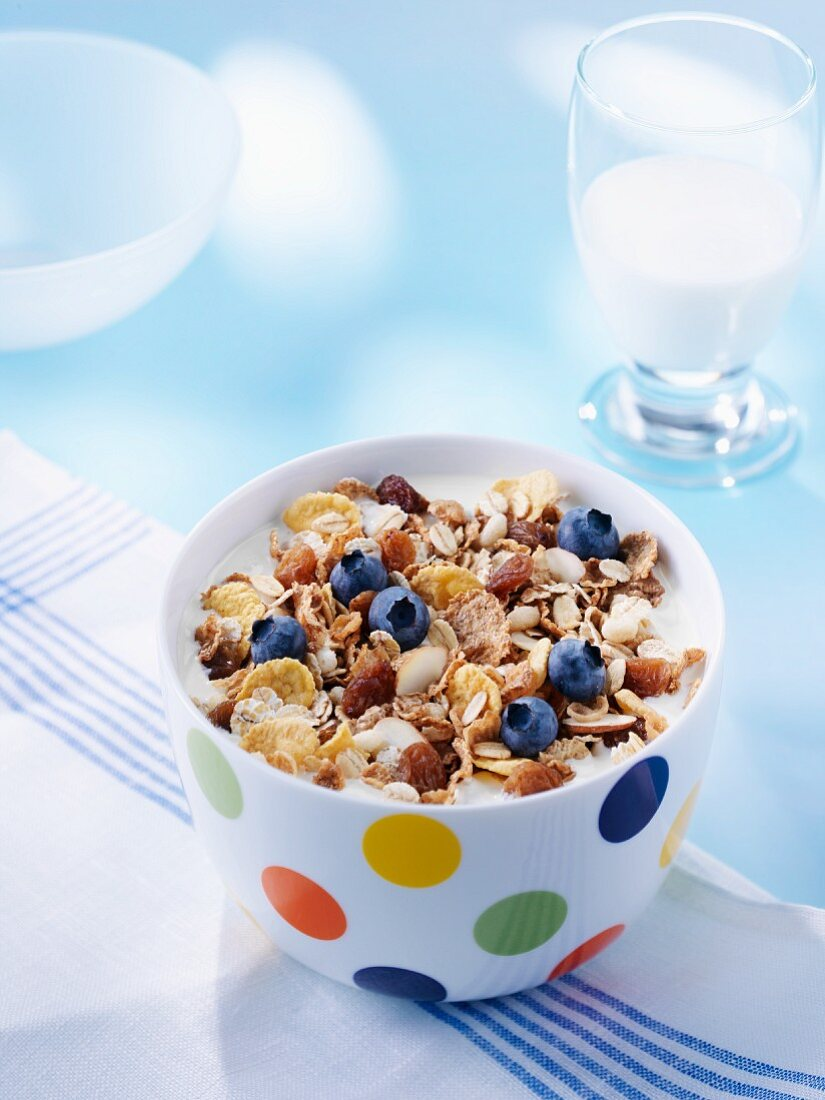 Muesli with fresh blueberries and spelt flakes