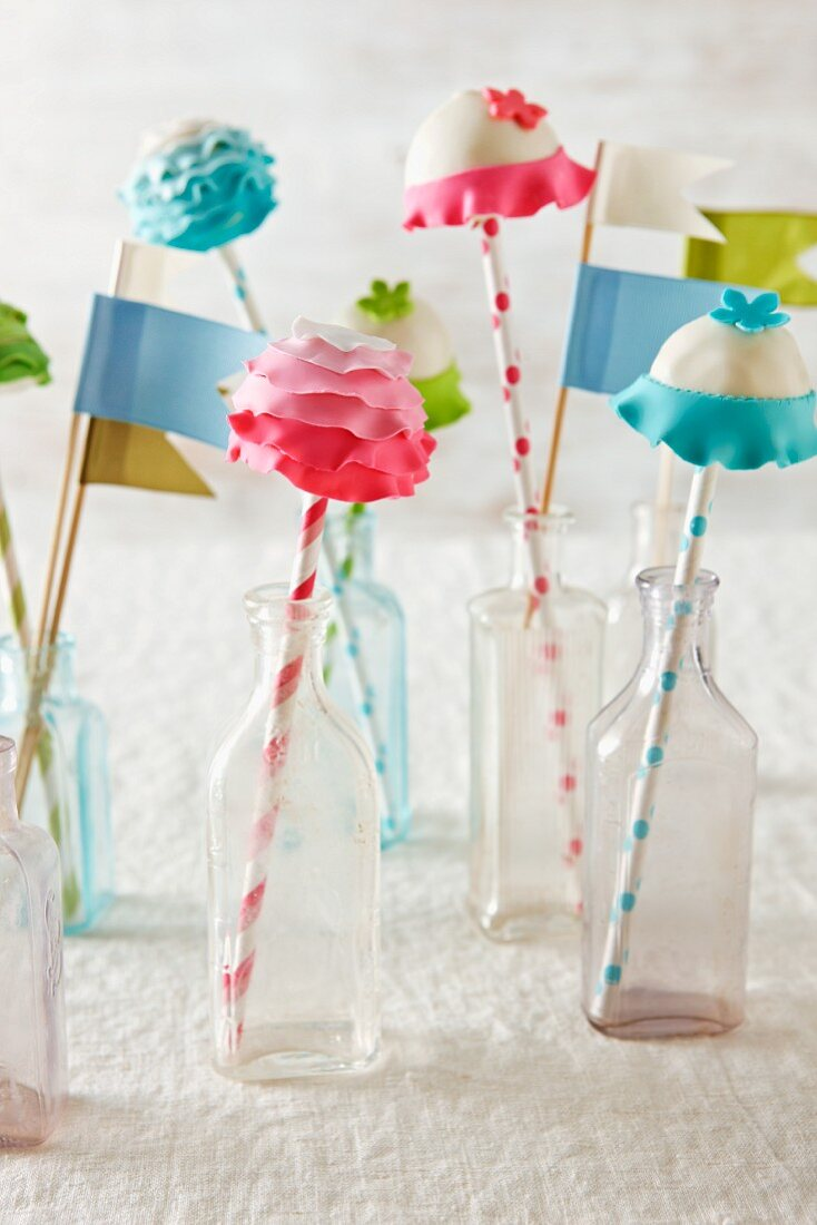 Flower Cake Pops in Glass Bottles