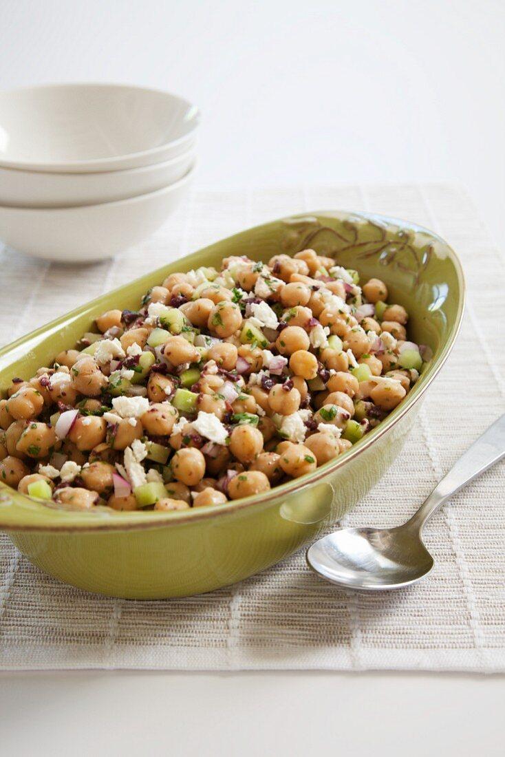 Mediterranean Chickpea Salad in a Serving Dish