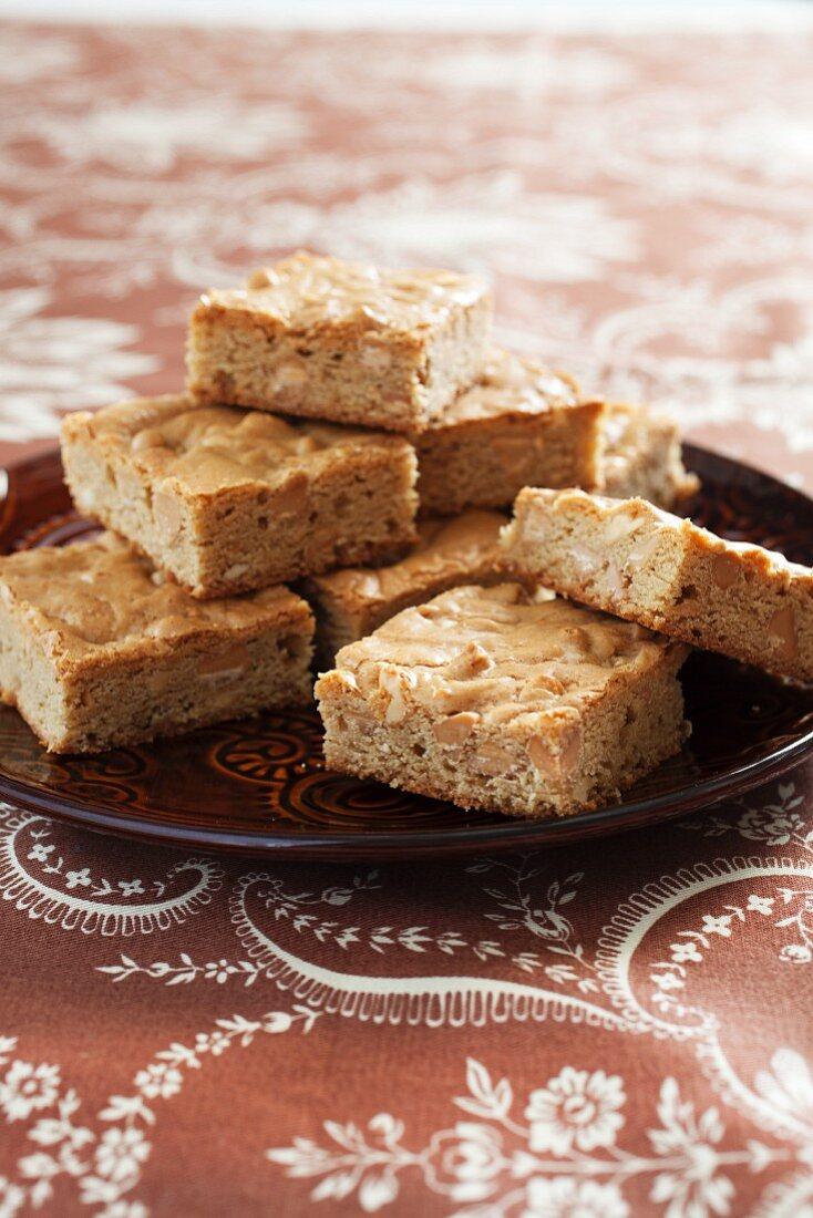 Peanut Butter Blondies on a Plate
