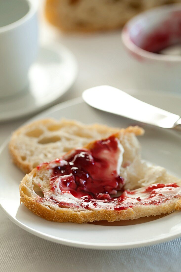 White bread with jam