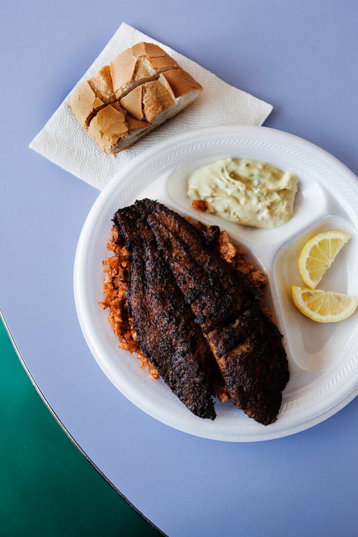 Blackened Catfish over Jambalaya with Tartar Sauce and Bread