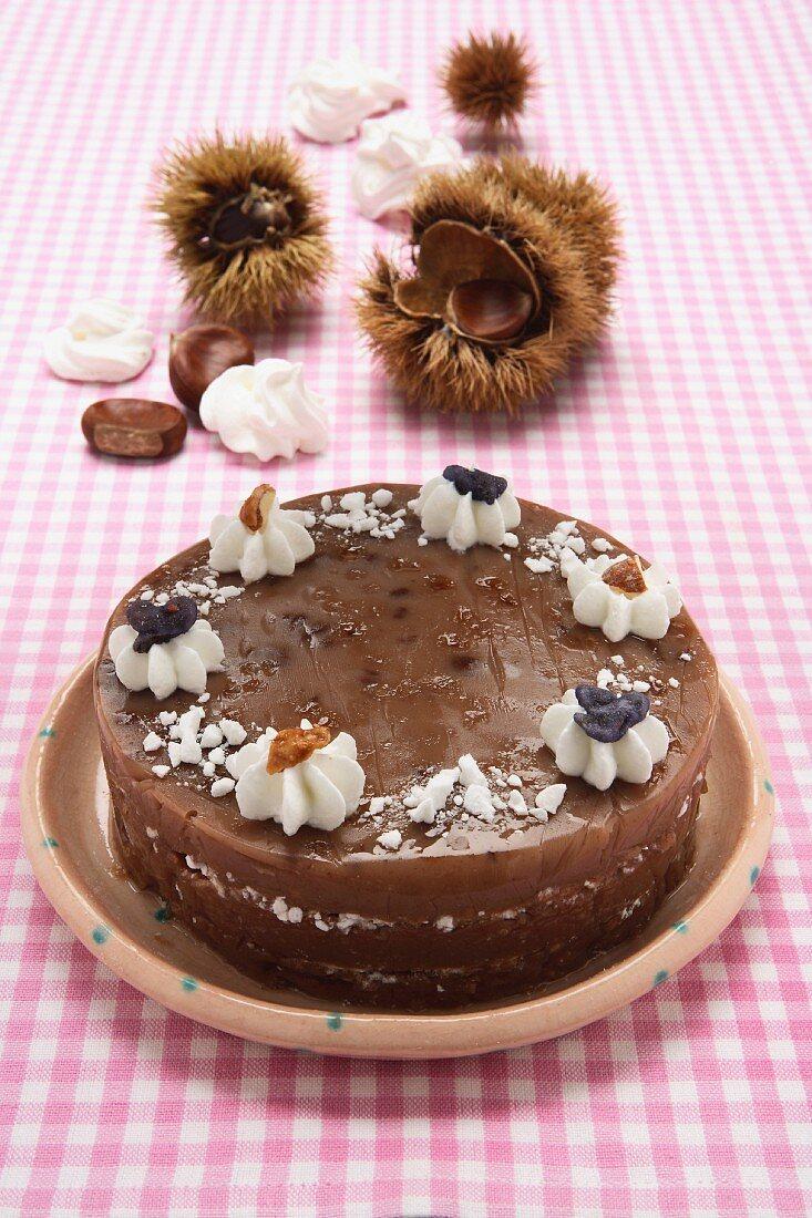 Mousse di castagne alla meringa (chestnut mousses with meringue)