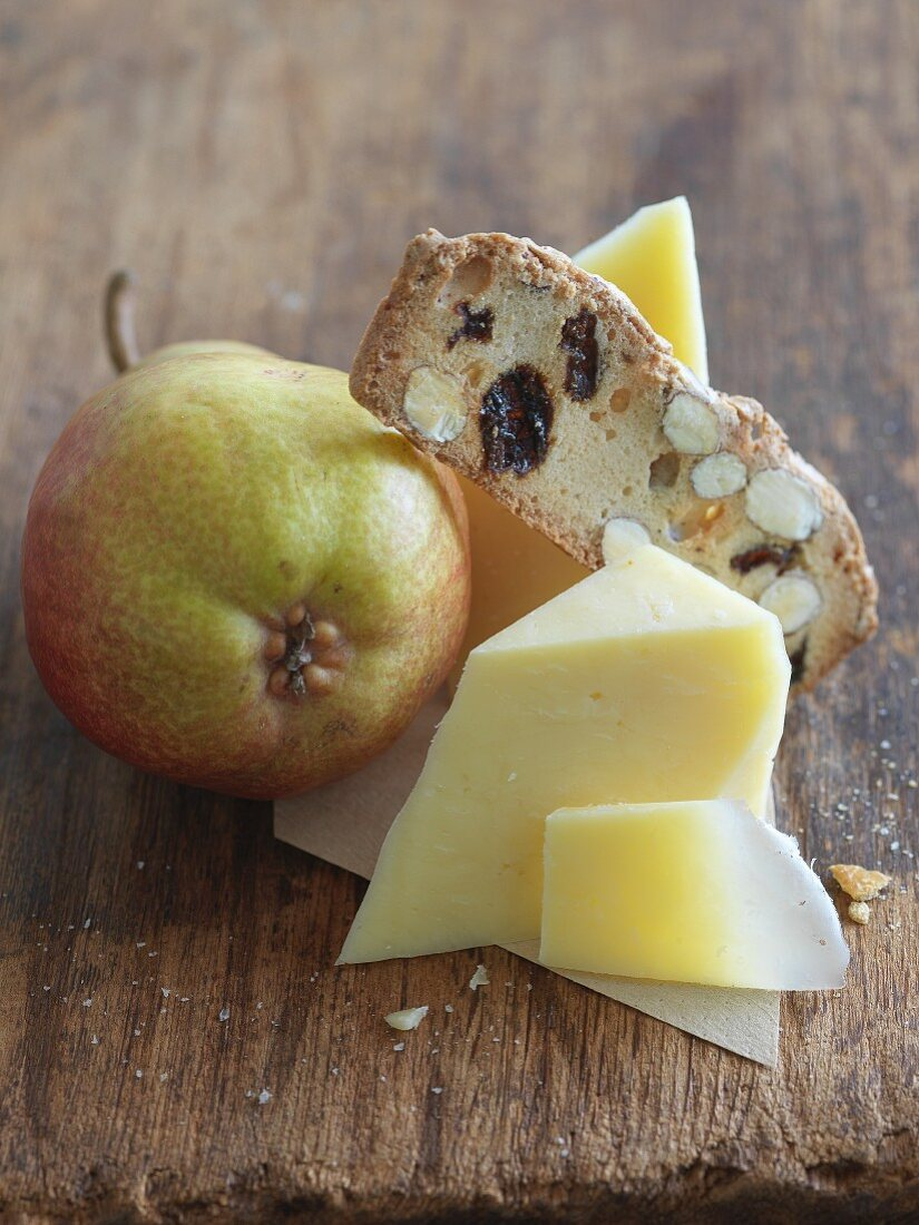 White Cheddar Cheese with a Cracker and Pear