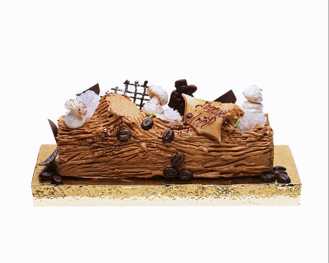 Buche De Noel (French Christmas cake) with coffee cream