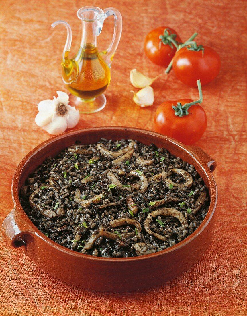 Arroz Negro (rice dish with squid, Spain)