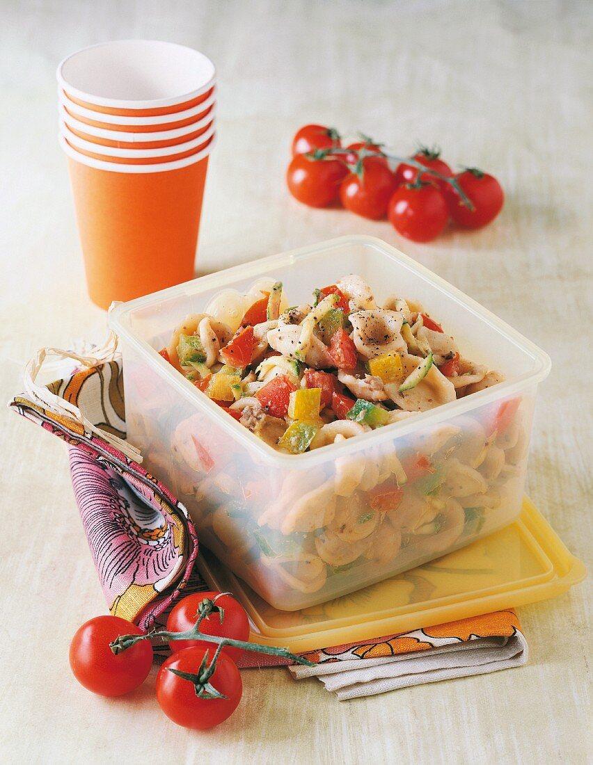 Orecchiette pasta with olive cream and tomatoes