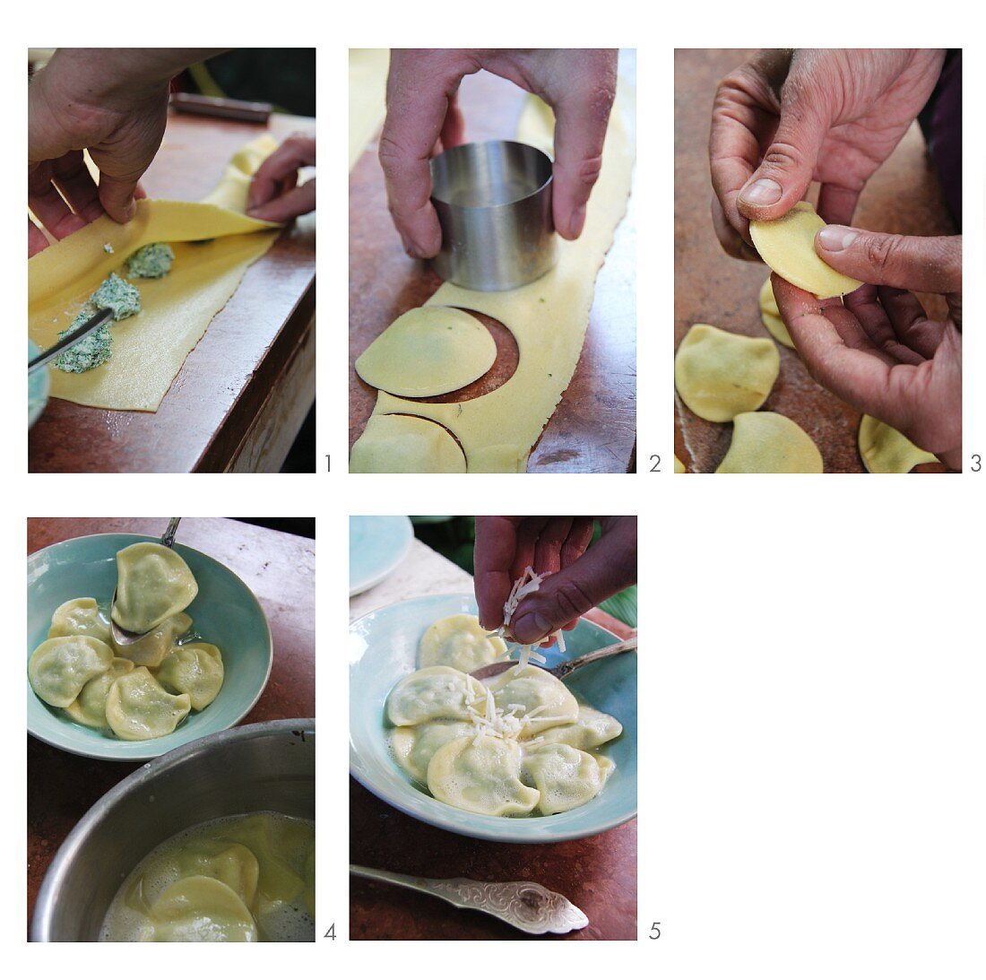 Panzotti with a stinging nettle and ricotta filling being prepared