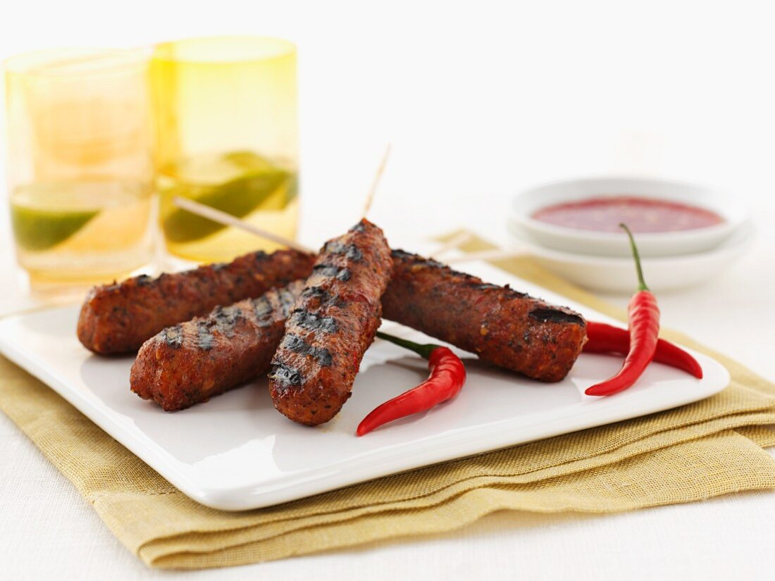 Minced meat kebabs with chilli peppers