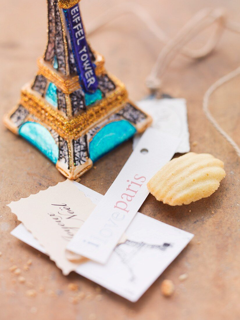 A madeleine with Parisian decorations