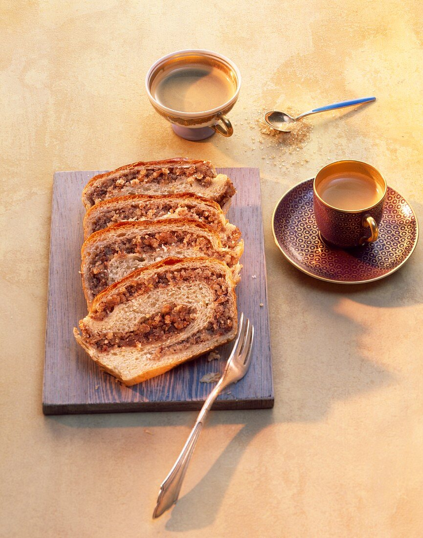 Nut cake and coffee