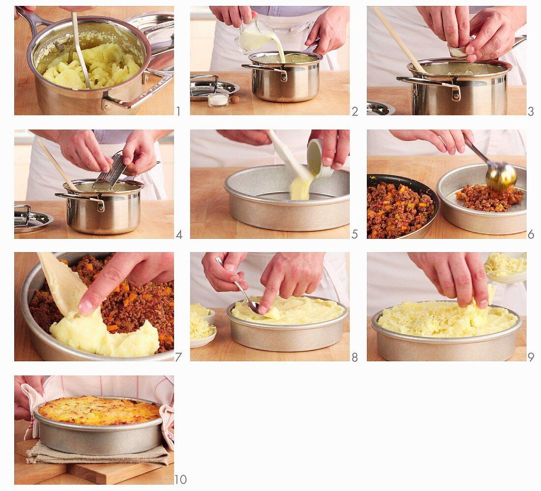 Cottage pie being made