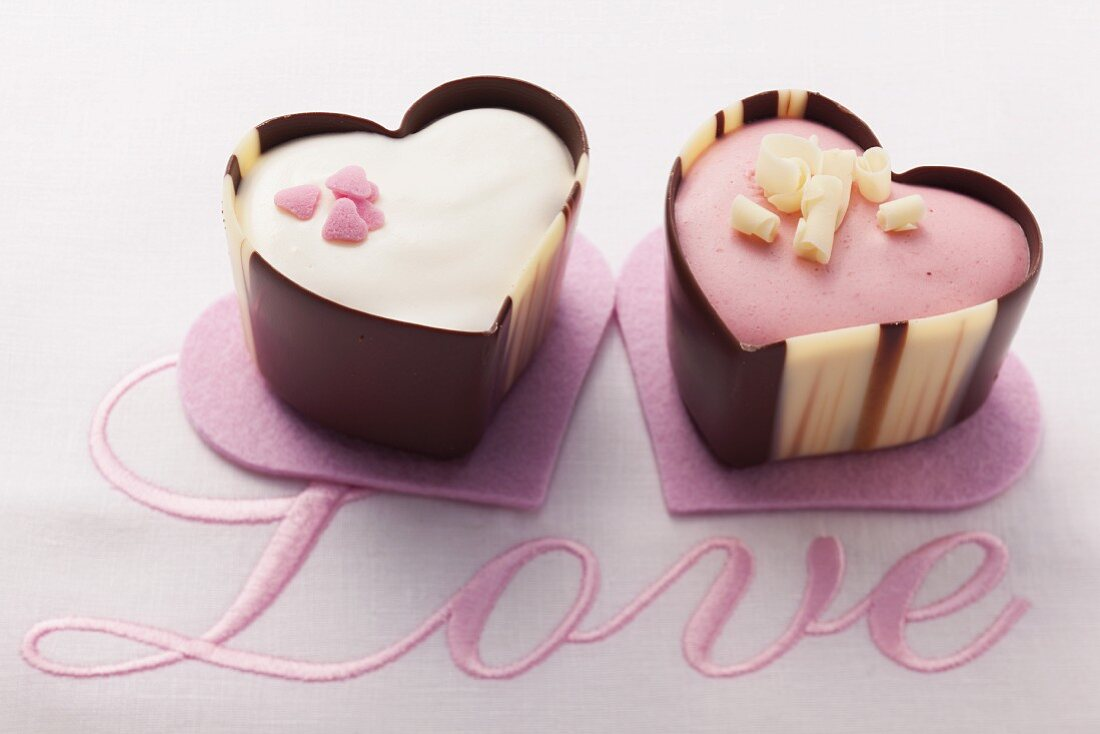 Two heart-shaped pralines