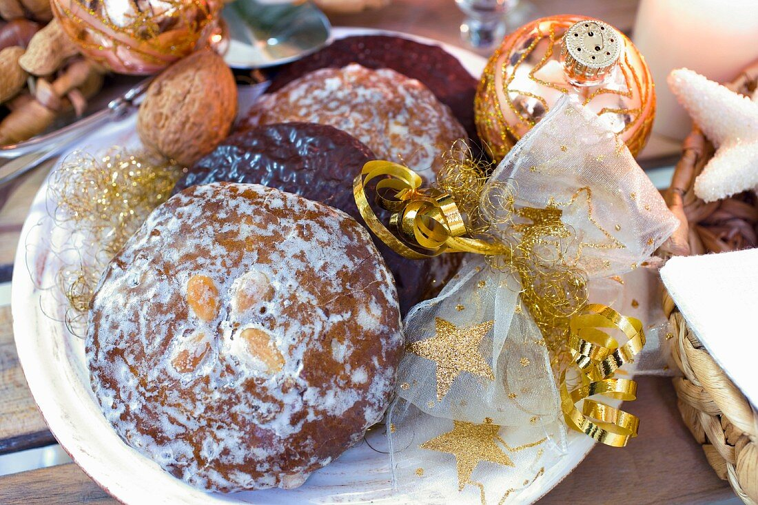 Traditional German gingerbread biscuits with Christmas decorations