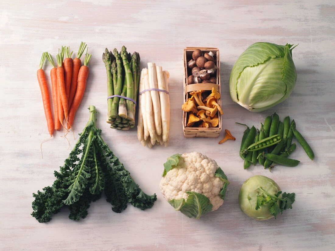 Various types of vegetables and mushrooms