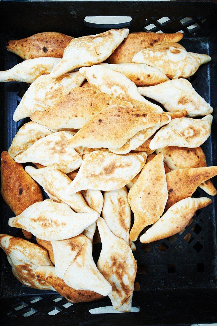 Pile of Freshly Baked Afghan Bread